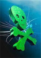 represented - Green skull representing data hacking, conceptual artwork. Stock Photo - Premium Royalty-Free, Artist: Ikon Images, Code: 679-07608181