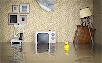 flooded homes - Flooded vintage interior. 3d concept Stock Photo - Royalty-Freenull, Code: 400-07615135