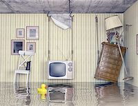 flooded homes - ordinary life in the flooded flat. 3d concept Stock Photo - Royalty-Freenull, Code: 400-07615136