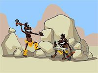 illustration of two funny cartoon cavemen working in a desert. Stock Photo - Royalty-Freenull, Code: 400-07617393