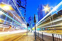 HongKong downtown traffic light trails Stock Photo - Royalty-Freenull, Code: 400-07620762