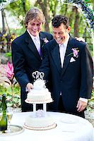Two handsome grooms cut the cake at their gay marriage ceremony. Stock Photo - Royalty-Freenull, Code: 400-07624442