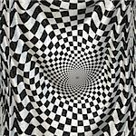 Abstract black and white checkered banner background.
