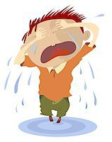 Crying child makes a puddle of tears Stock Photo - Royalty-Freenull, Code: 400-07633508