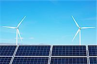 Photovoltaic solar panels and wind turbines, San Gorgonio Pass Wind Farm, Palm Springs, California, USA Stock Photo - Premium Royalty-Freenull, Code: 649-07648211