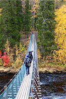 Europe, Finland, Lapland, Kuusamo, Oulanka National Park, Karhunkierros Trail - the bear trail hike, hikers crossing the hanging bridge at Harrisuvanto spanning the Kitkajoki River (MR) Stock Photo - Prem