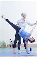fitness   mature woman - Women practising yoga Stock Photo - Premium Royalty-Freenull, Code: 614-07652297
