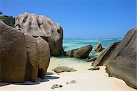 seychelles - Anse Source d'Argent with Sculpted Rocks, La Digue, Seychelles Stock Photo - Premium Royalty-Freenull, Code: 600-07653896