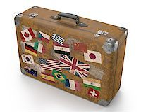 Antique suitcase with stamps flags representing each country traveled. Clipping path included. Stock Photo - Royalty-Freenull, Code: 400-07668473