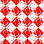 Design seamless red hearts pattern. Abstract checked geometric background. Vector art