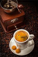 Espresso cup with coffee mill and beans Stock Photo - Royalty-Free, Artist: Brebca, Code: 400-07678640