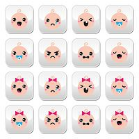 Vector buttons set of happy, sad, crying babies isolated on white Stock Photo - Royalty-Freenull, Code: 400-07682317