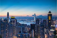 Hong Kong Island and Kowloon at sunset, Hong Kong Stock Photo - Premium Rights-Managednull, Code: 862-07689860