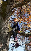 Boy playing in tree Stock Photo - Premium Royalty-Freenull, Code: 6122-07703257