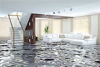flooded homes - flooding in luxurious interior. 3d creative concept Stock Photo - Royalty-Freenull, Code: 400-07712681