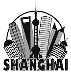 Shanghai China City Skyline Outline Silhouette in Circle Black Isolated on White Background Illustration