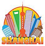 Shanghai China City Skyline Outline Silhouette in Circle Color Isolated on White Background Illustration