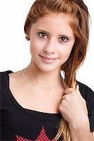 Studio fashion portrait of young beautiful smiling girl with nice eyes on white background Stock Photo - Royalty-Freenull, Code: 400-07717807