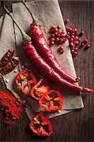 spicy - Chillis: peppers, dried, powder and peppercorns Stock Photo - Premium Royalty-Freenull, Code: 659-07739623