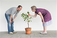 Mature couple caring for little tree, smiling Stock Photo - Premium Royalty-Freenull, Code: 6121-07740994