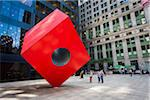 Isamu Noguchi's Sculpture Red Cube in Lower Manhattan, New York City, New York, USA