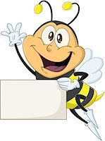 Vector illustration of a cute flying bee holds sign and waves Stock Photo - Royalty-Freenull, Code: 400-07749541