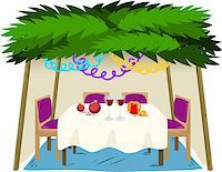 Vector illustration of Sukkah with ornaments table with food for the Jewish Holiday Sukkot. Stock Photo - Royalty-Freenull, Code: 400-07749551