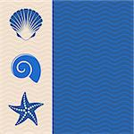 Vector card with sea icons and wavy lines