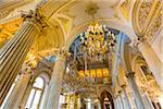 Ceiling and chandeliers, Small Pavilion Hall, The Hermitage, St. Petersburg, Russia