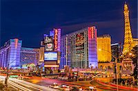Neon lights on Las Vegas Strip at dusk with car headlights leaving streaks of light in front of Paris and Ballys, Las Vegas, Nevada, United States of America, North America Stock Photo - Premium Rights-Managednull, Code: 841-07782008
