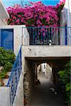 View of passage over alley stairs with bougainvillea flowers in mountain village, Greece