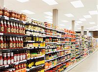 supermarket not people - Stocked shelves in grocery store aisle Stock Photo - Premium Royalty-Freenull, Code: 6113-07790970