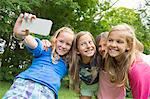 Girls taking selfie in garden