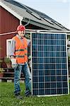 Man large solar panel garden house
