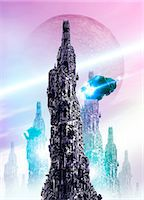 spaceship - Space craft and cityscape Stock Photo - Premium Royalty-Freenull, Code: 679-07814063