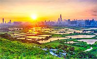 sunset in hong kong countryside, rice field and modern office buildings Stock Photo - Royalty-Freenull, Code: 400-07821254