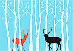 Reindeer with birch tree forest, Christmas card, vector