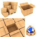 Packing Concepts - Set of 3D Cardboard Boxes.