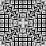 Design monochrome warped checked pattern. Abstract convex textured background. Vector art. No gradient