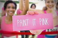 Composite image for breast cancer awareness with text on card Stock Photo - Royalty-Freenull, Code: 400-07834736