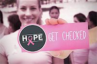 Composite image for breast cancer awareness with text on card Stock Photo - Royalty-Freenull, Code: 400-07834783