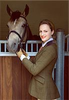 equestrian - Woman with Horse Standing in front of Stable Stock Photo - Premium Rights-Managednull, Code: 822-07840871