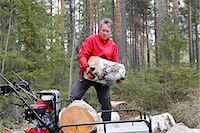Man transporting cutted trunks Stock Photo - Premium Royalty-Freenull, Code: 6102-07842697