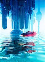 spaceship - Space craft and futuristic city, computer artwork. Stock Photo - Premium Royalty-Freenull, Code: 679-07846308