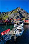Marina and harbour, the Village of A, Moskenesoy island, Lofoten Archipelago, Nordland, Northern Norway, Norway