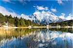 Lake Luttensee in front of Karwendel with Early Snow in Autumn, Werdenfelser Land, Upper Bavaria, Germany