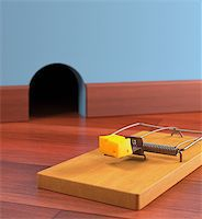 Mousetrap with cheese on a wooden floor. Depth of field in cheese. Stock Photo - Royalty-Freenull, Code: 400-07900090