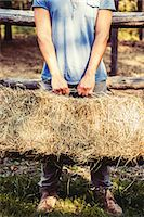 Cropped shot of young male farmer lifting straw bale, Premosello, Verbania, Piemonte, Italy Stock Photo - Premium Royalty-Freenull, Code: 649-07905339