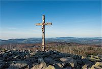 religious cross nobody - Scenic view of a mountain top (Lusen) with crucifix cross at summit, Bavarian Forest National Park, Bavaria, Germany Stock Photo - Premium Royalty-Freenull, Code: 600-07911236