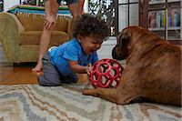 Male toddler playing with dog on sitting room floor Stock Photo - Premium Royalty-Freenull, Code: 614-07911890